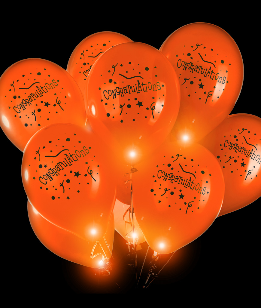 LED 14 Inch Blinky Balloons Congratulations - Orange