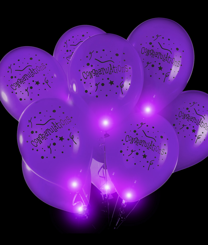 LED 14 Inch Blinky Balloons Congratulations - Purple