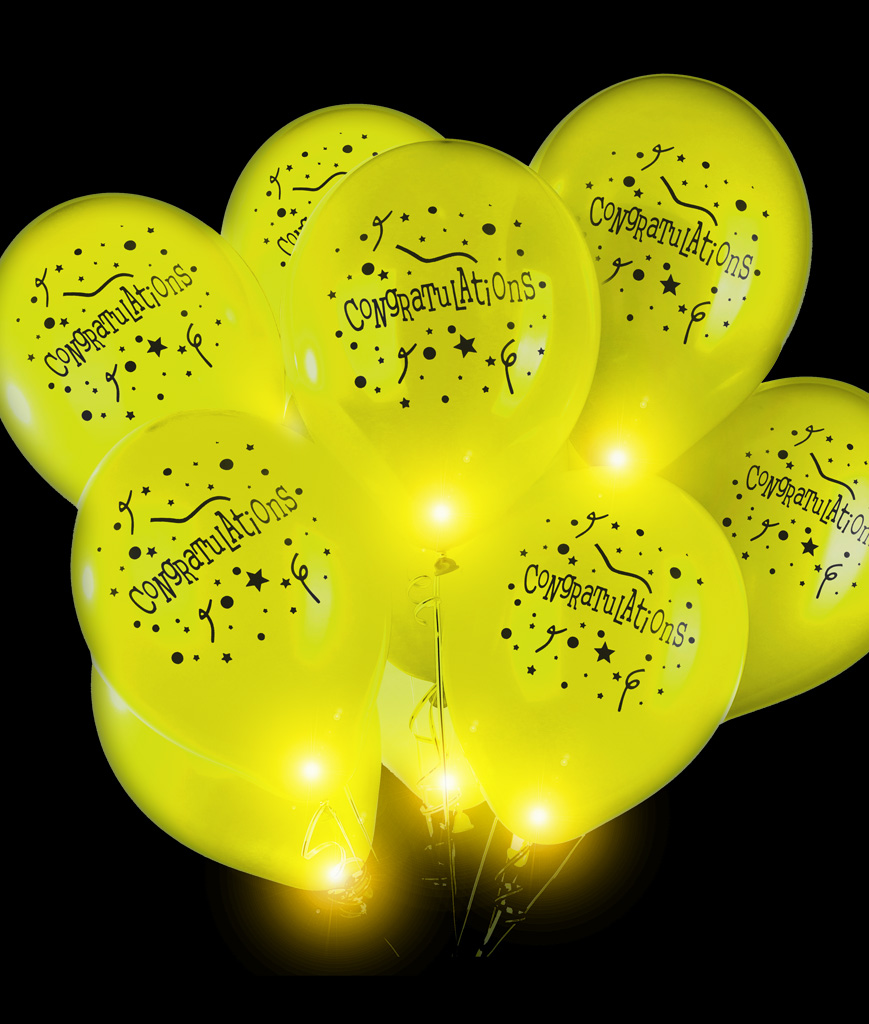 LED 14 Inch Blinky Balloons Congratulations - Yellow