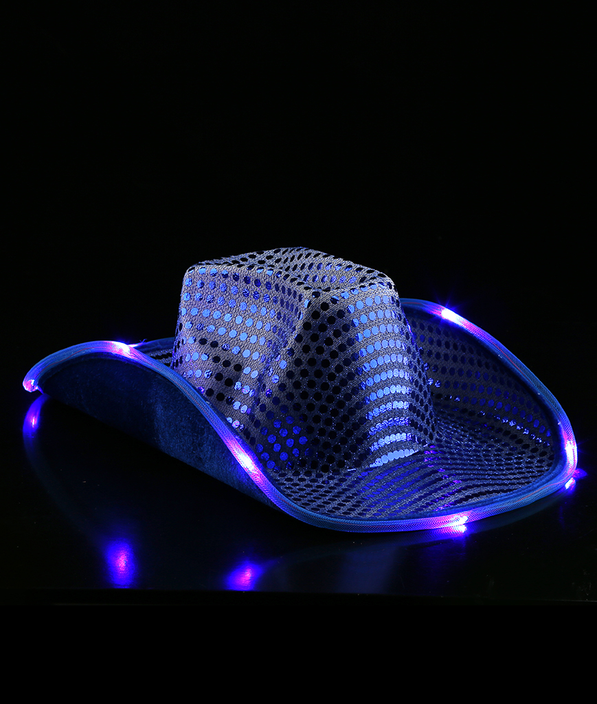 Fun Central AI322 LED Light Up Sequin Cowboy Hat - Blue