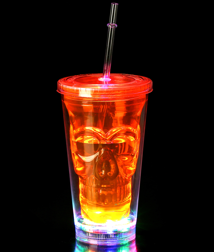 Fun Central BD003 LED Light Up Skull Tumbler - Orange