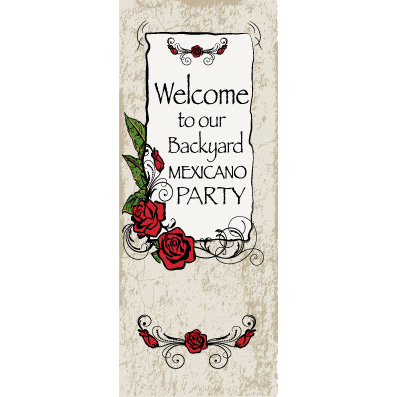 Mexican Grunge Roses - Custom Door Banner