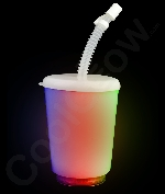 Fun Central AK029 LED Light Up 12oz Opaque Cup with Lid and Straw - Multicolor