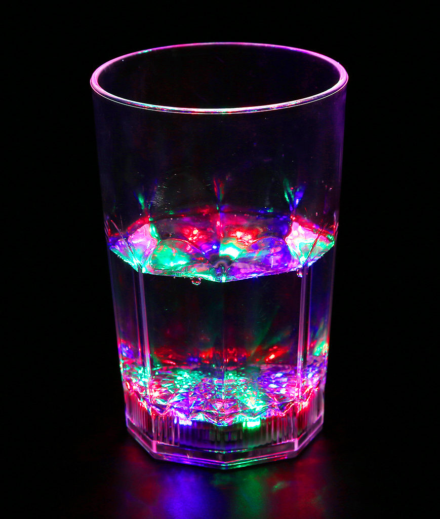 Fun Central I779 LED Light Up 12oz Flashing Rocks Glass - Multicolor