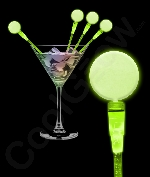 Fun Central P890 LED Light Up Circle Cocktail Stirrers - Green