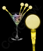 Fun Central P894 LED Light Up Circle Cocktail Stirrers - Yellow