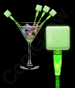 LED Square Cocktail Stirrers - Green