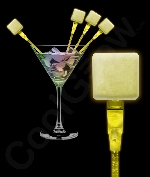 LED Square Cocktail Stirrers - Yellow