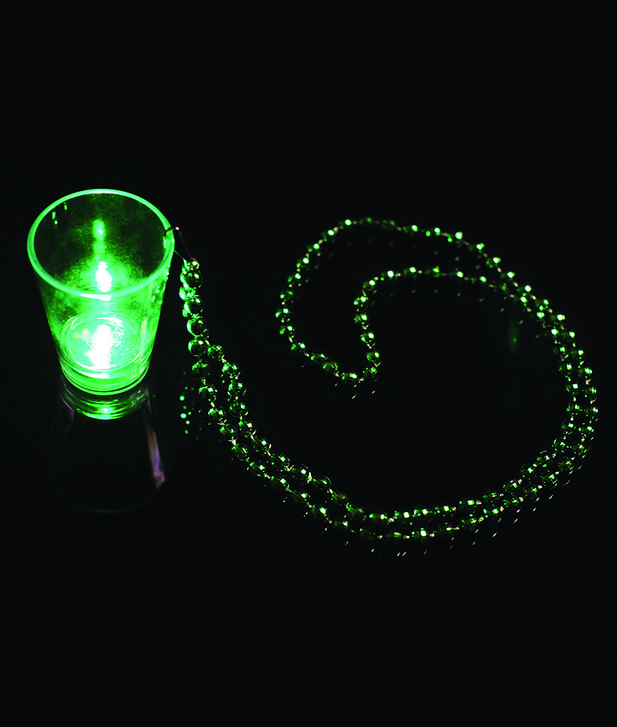 LED Shot Glass with Beads - Green