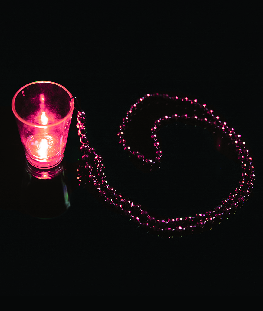 LED Shot Glass with Beads - Red