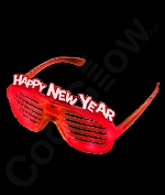 Fun Central M932 LED Light Up New Year Slotted Shades - Red
