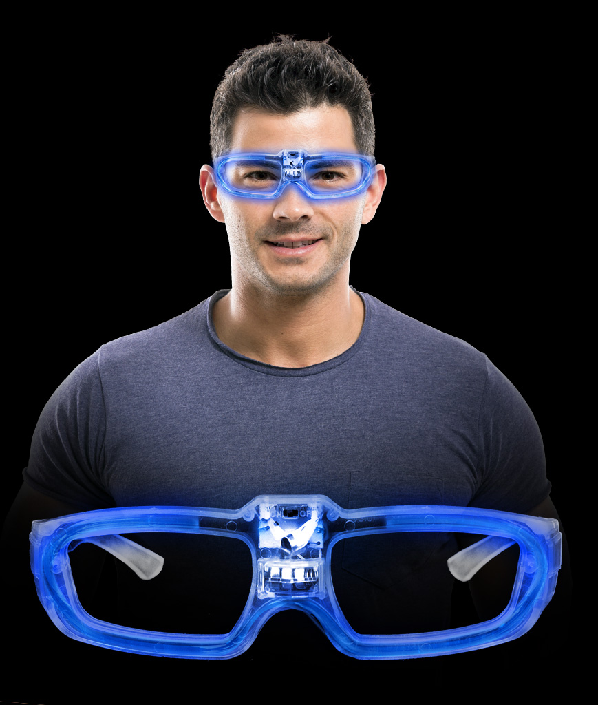 LED Sound Activated Eye Glasses- Blue
