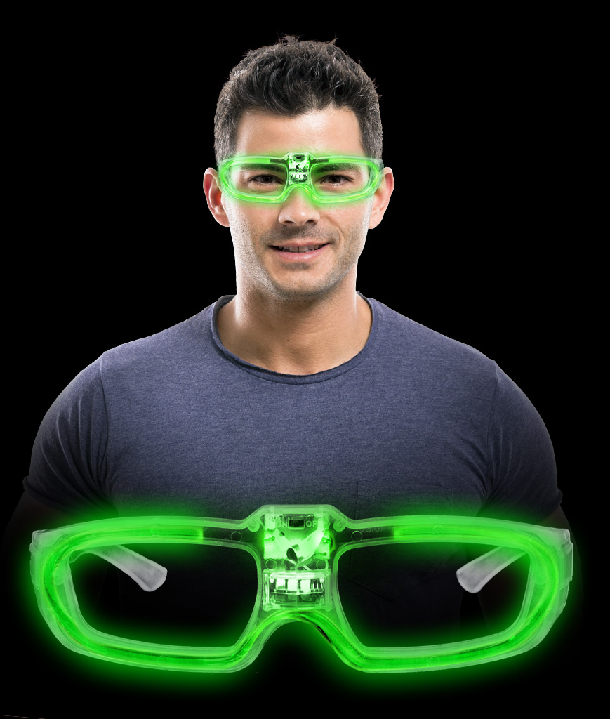 LED Sound Activated Eye Glasses- Green