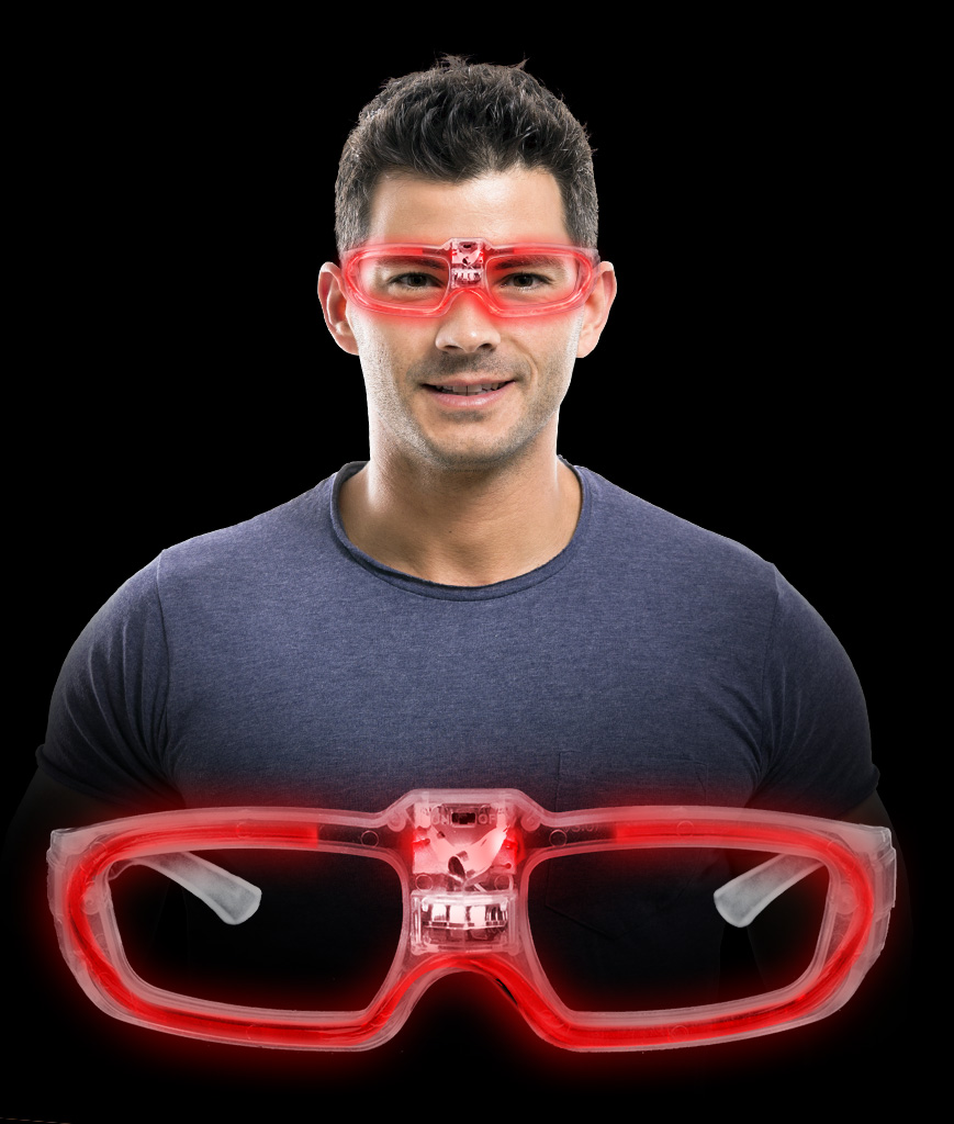 LED Sound Activated Eye Glasses- Red