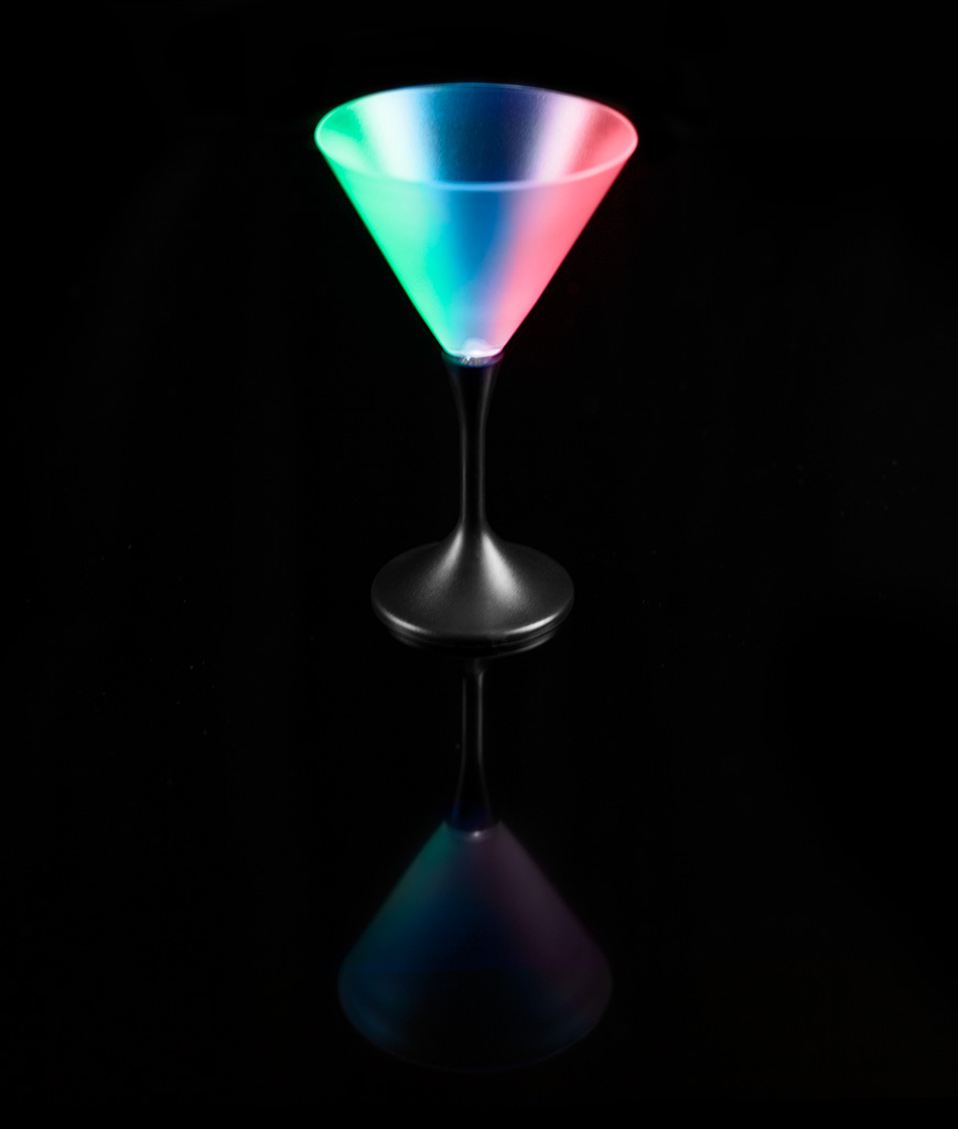 Fun Central P913 LED Light Up Martini Glass Black Stem - 7oz