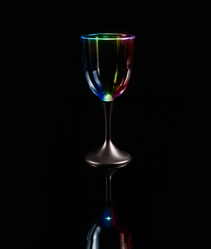 LED Wine Glass Black Stem - 10 oz.