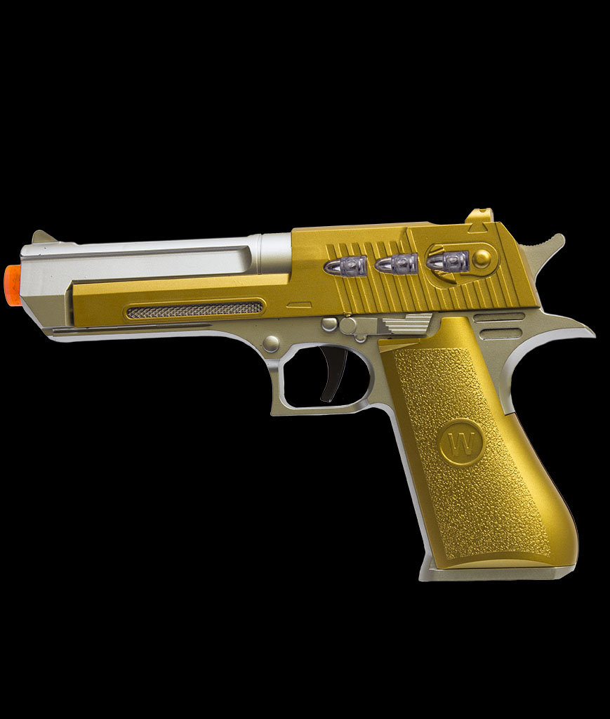 LED 8 Inch Plated Laser Pistol - Gold