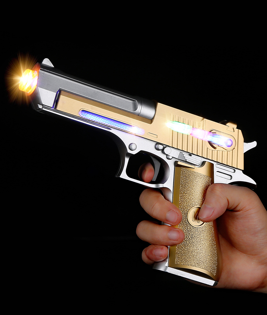 Fun Central AU211 LED Light Up 8 Inch Plated Laser Pistol - Gold