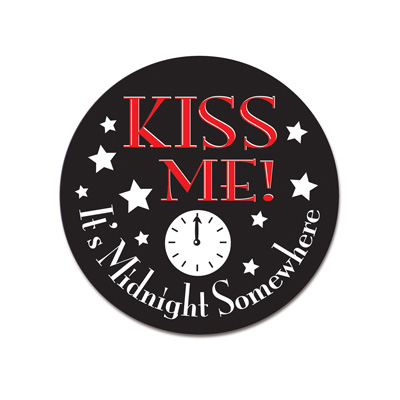 Kiss Me It's Midnight Somewhere Button 3.5in