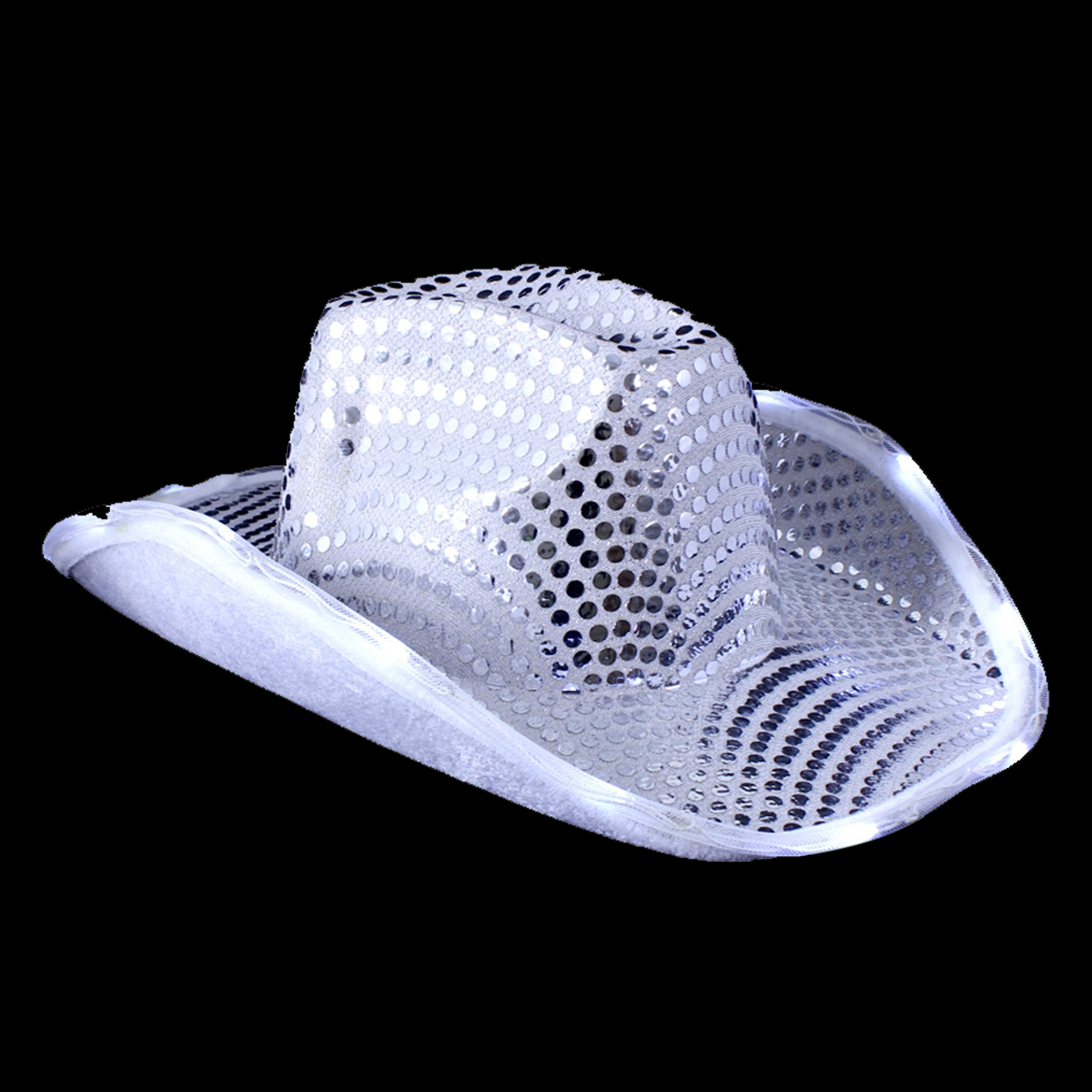 Fun Central O745 LED Light Up Sequin Cowboy Hat - Silver