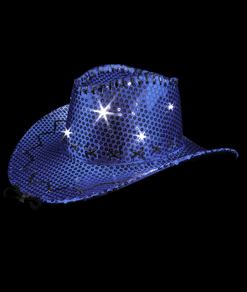 LED Sequin Cowboy Hat with Stitching - Blue