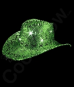 LED Sequin Cowboy Hat with Stitching - Green