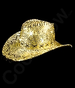 LED Sequin Cowboy Hat with Stitching - Gold