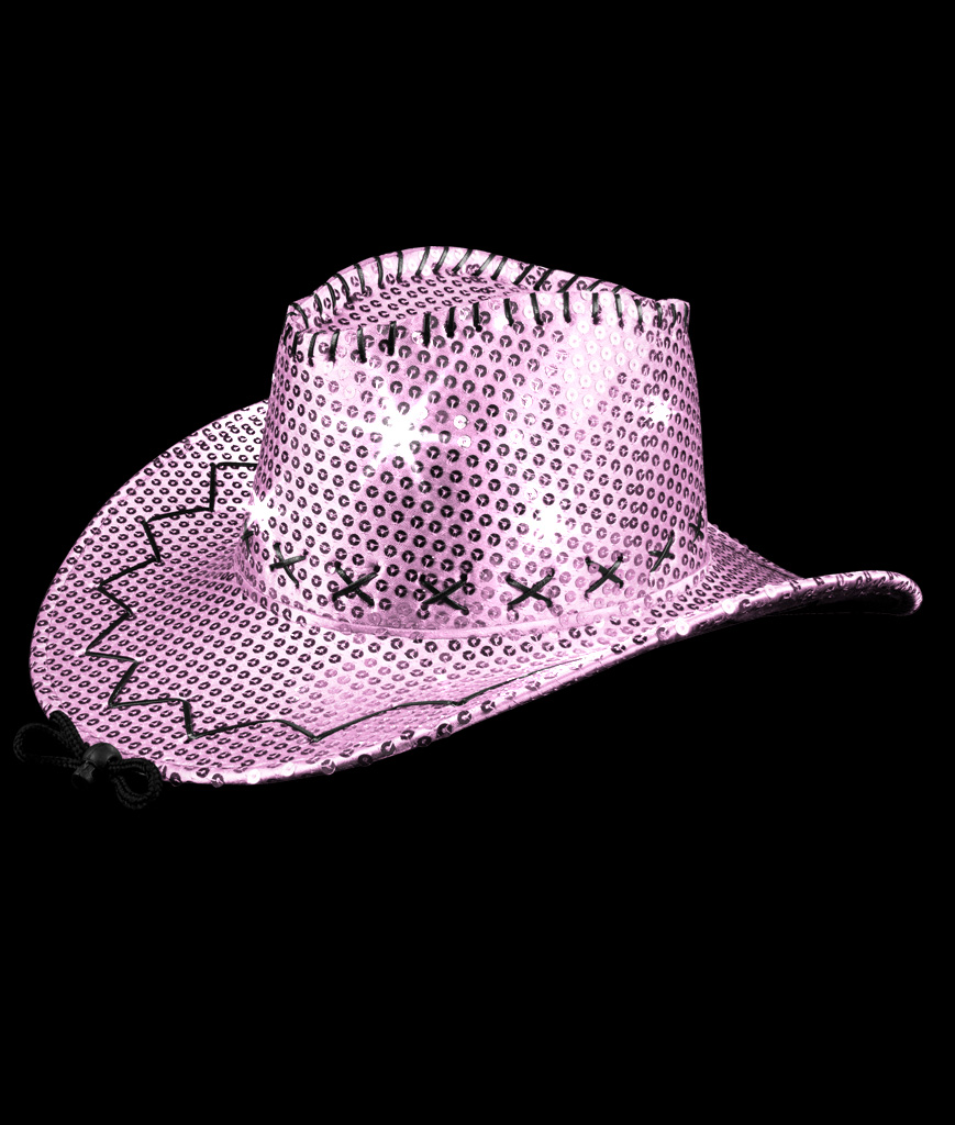 LED Sequin Cowboy Hat with Stitching - Pink