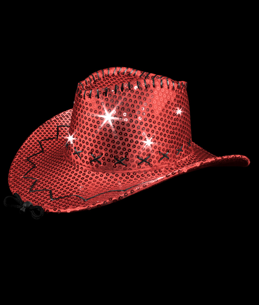 LED Sequin Cowboy Hat with Stitching - Red
