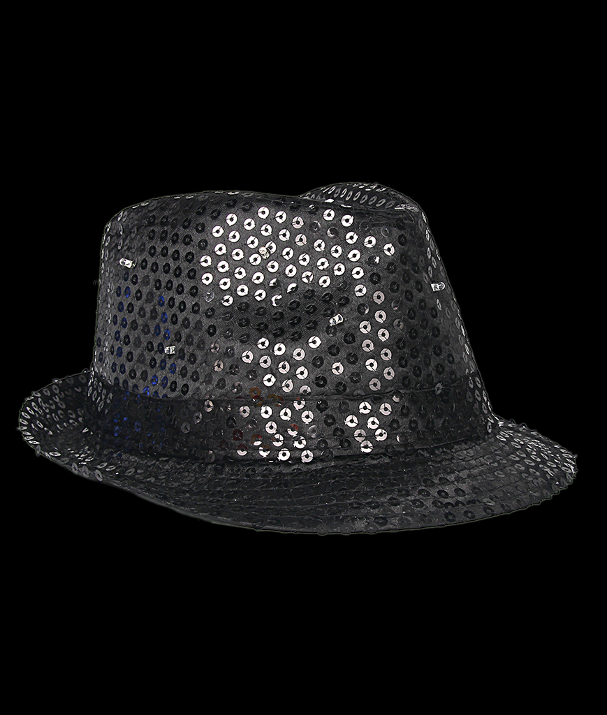 Fun Central O748 LED Light Up Sequin Fedora - Black