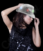LED Sequin Fedora - Silver with Multicolor Lights