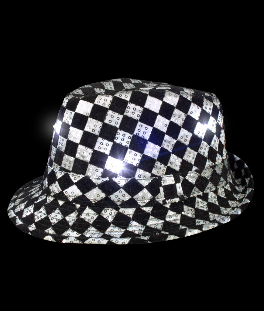 LED Sequin Checkered Fedora