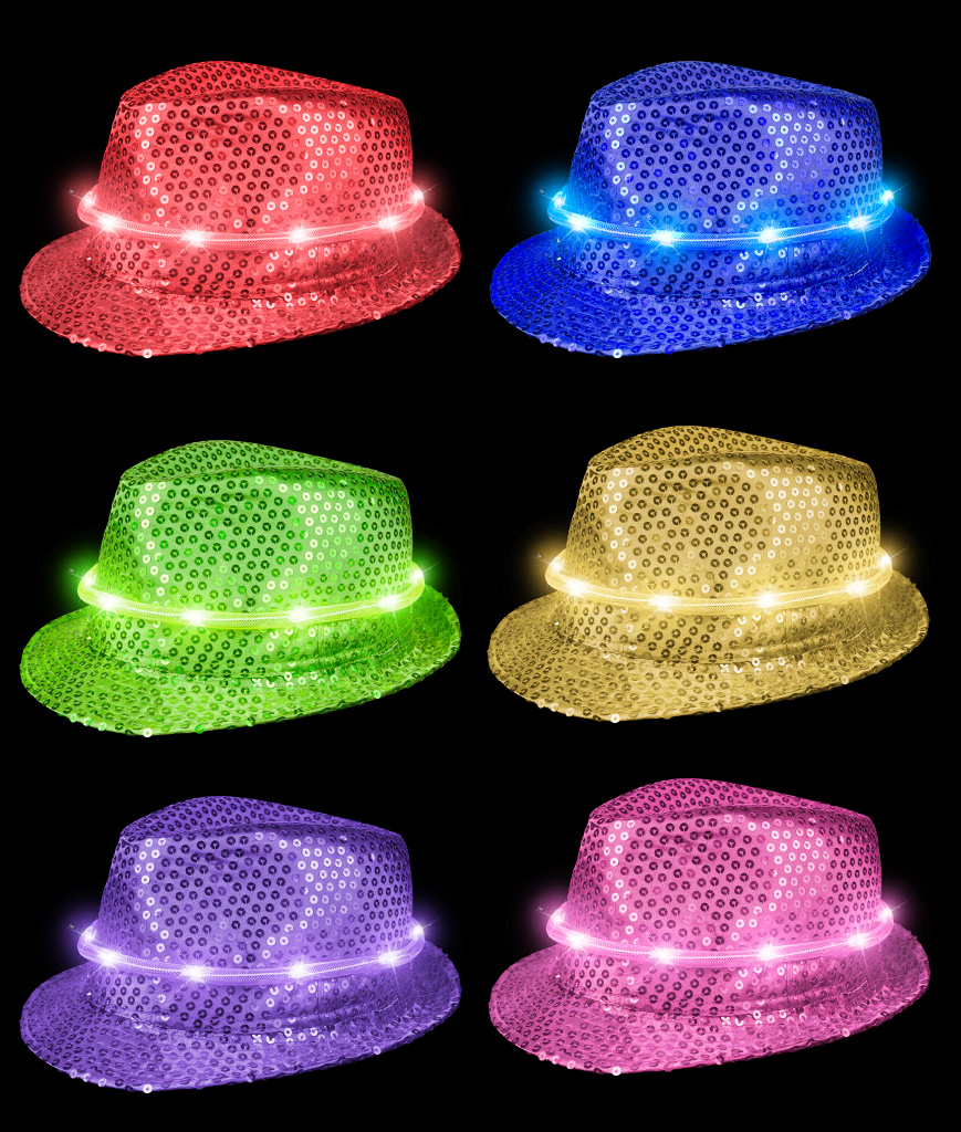 LED Sequin Fedora Deluxe - Assorted