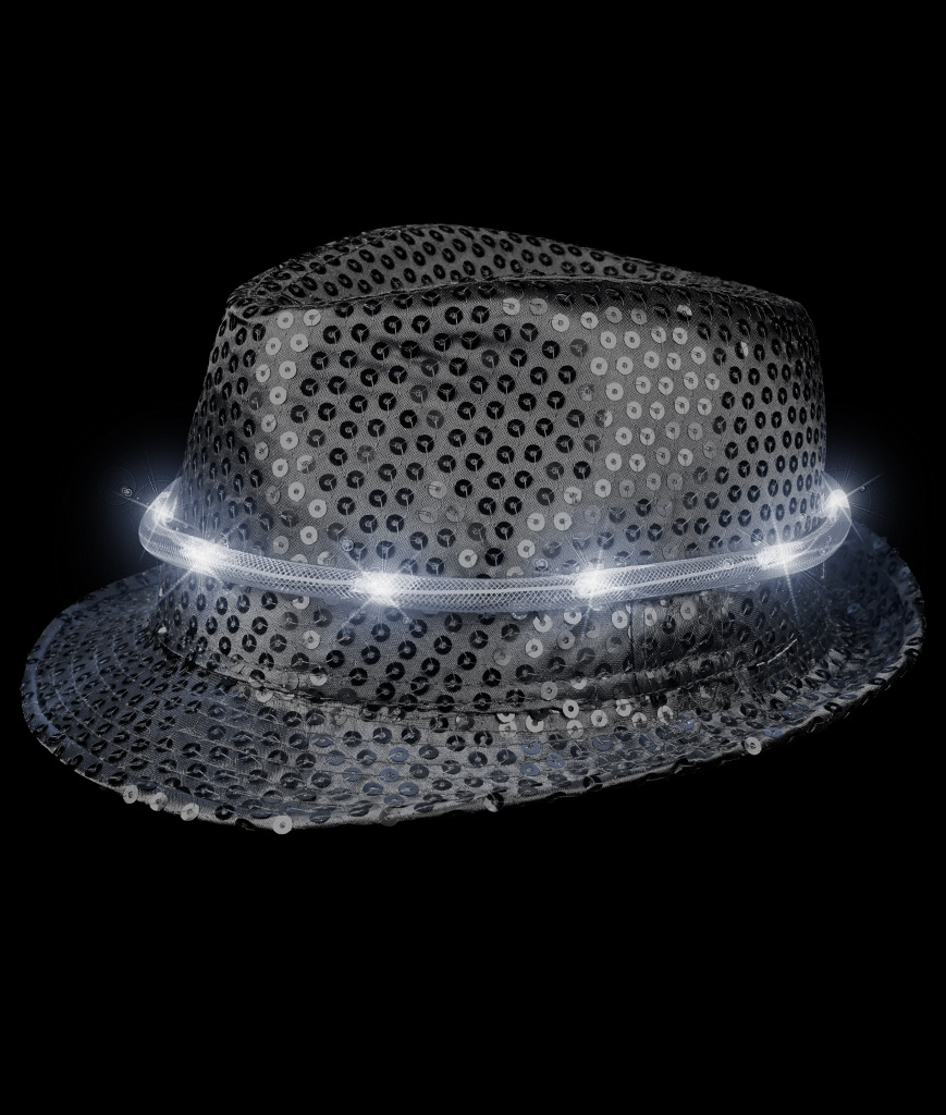 LED Sequin Fedora Deluxe - Black