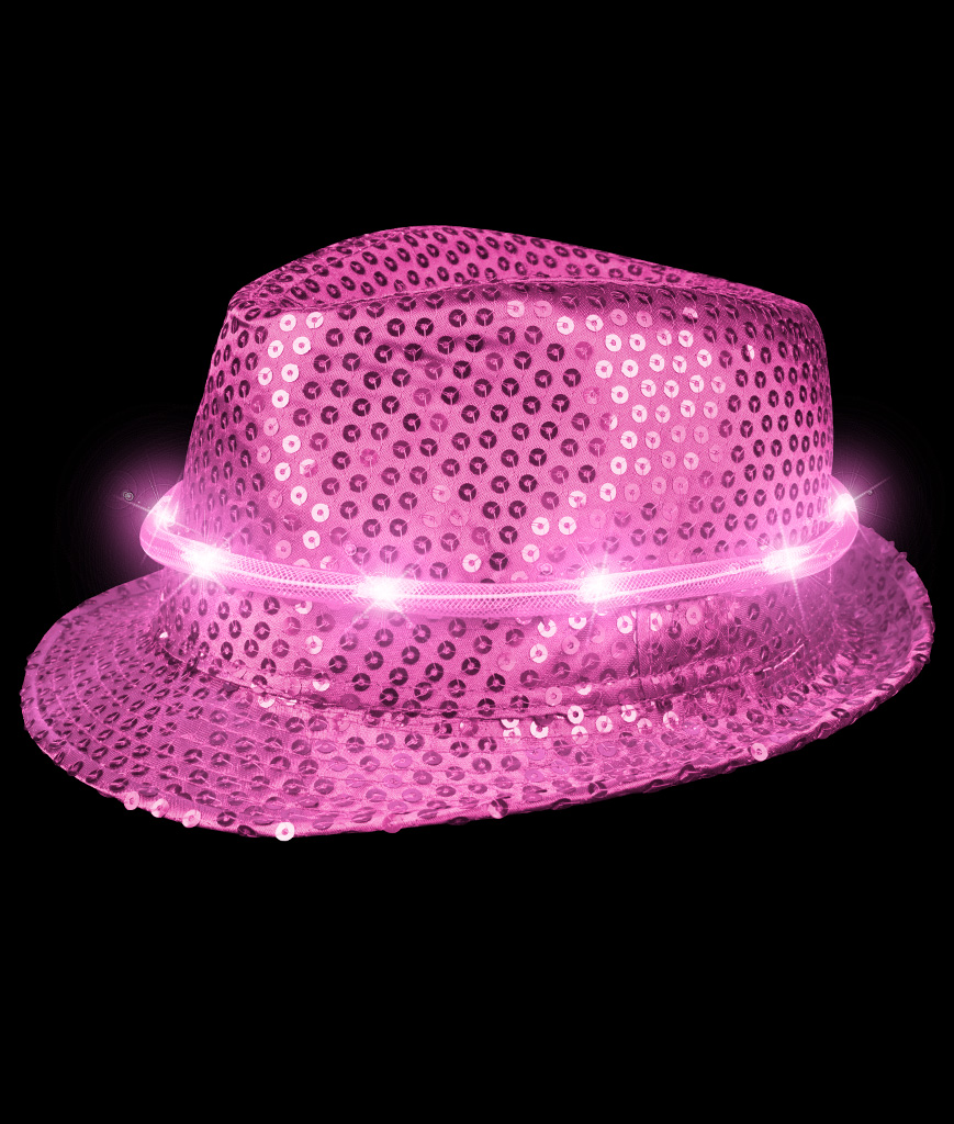 LED Sequin Fedora Deluxe - Pink