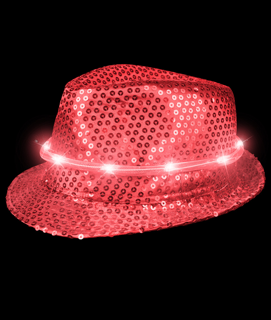LED Sequin Fedora Deluxe - Red