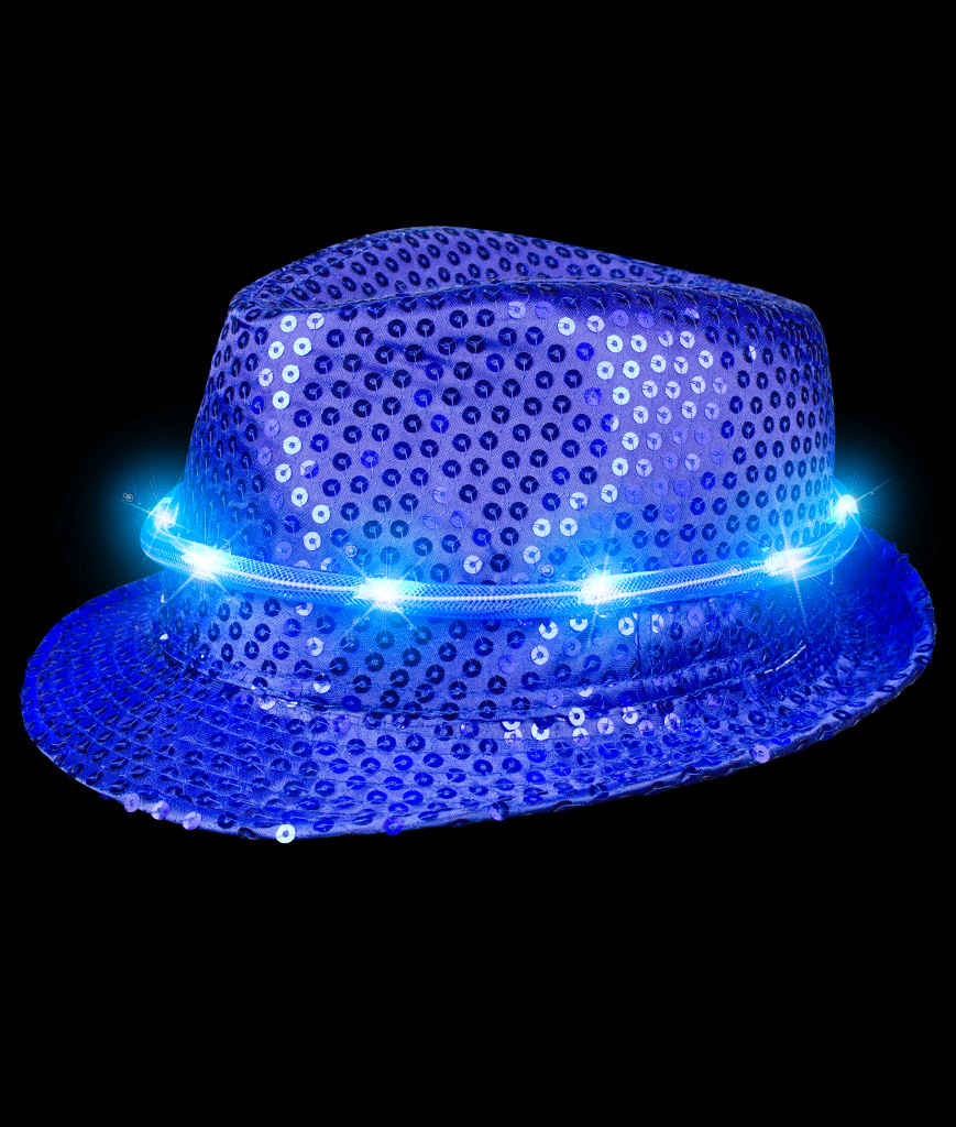 LED Sequin Fedora Deluxe - Blue