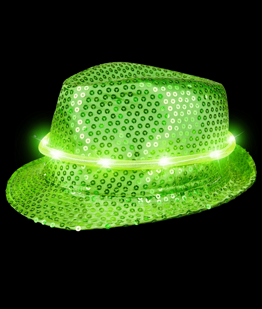 LED Sequin Fedora Deluxe - Green