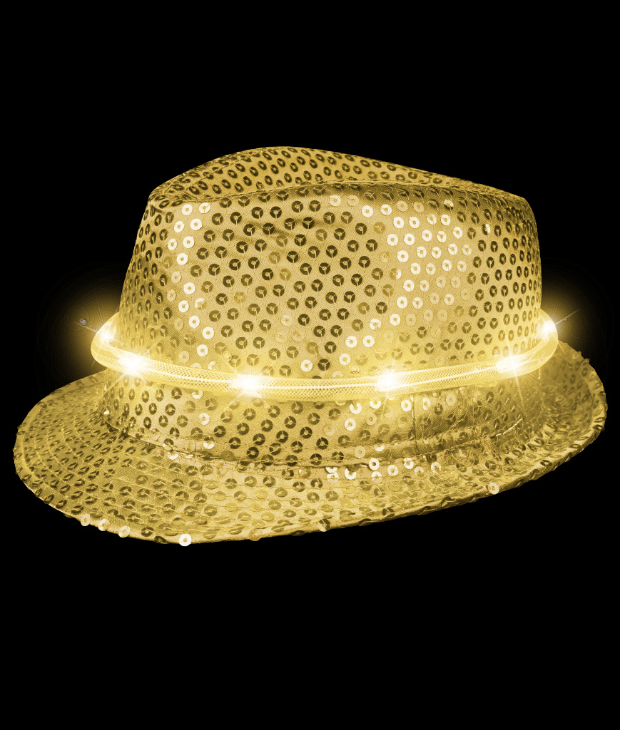 LED Sequin Fedora Deluxe - Gold