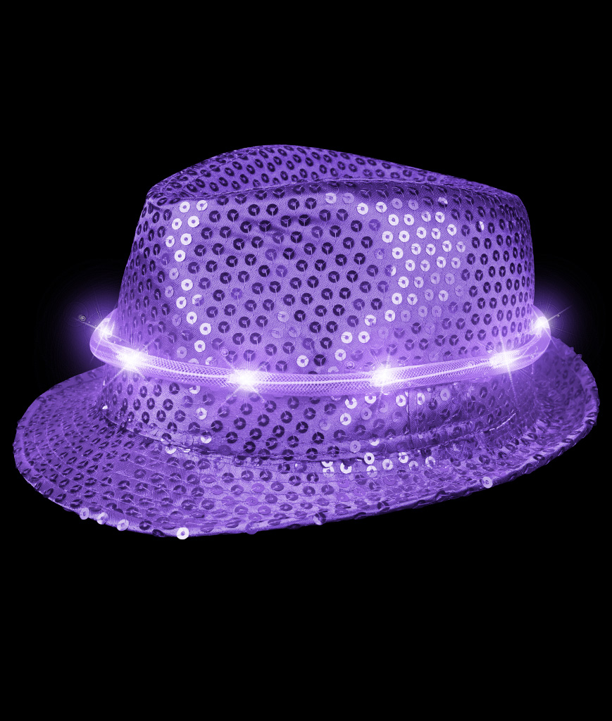 LED Sequin Fedora Deluxe - Purple