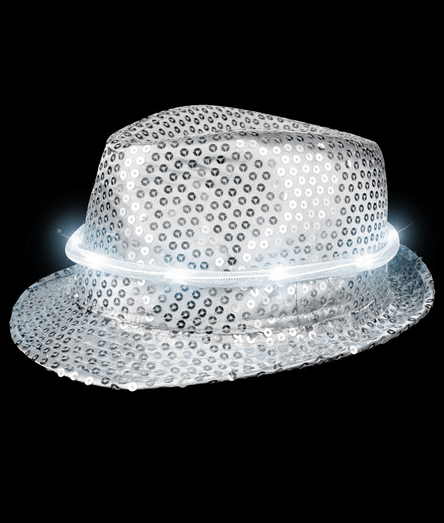 LED Sequin Fedora Deluxe - Silver