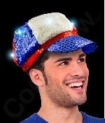 LED Sequin Newsboy Hat- Red White Blue