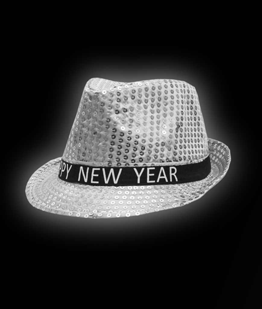 LED Sequin New Year Fedora - Silver