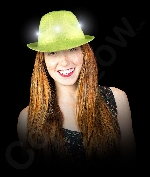 LED Neon Sequin Fedora-Lime Green