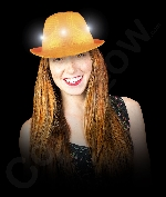 LED Neon Sequin Fedora- Orange