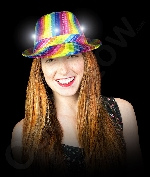 LED Rainbow Sequin Fedora