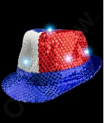 Fun Central AI798 LED Light Up Patriotic Sequin Fedora