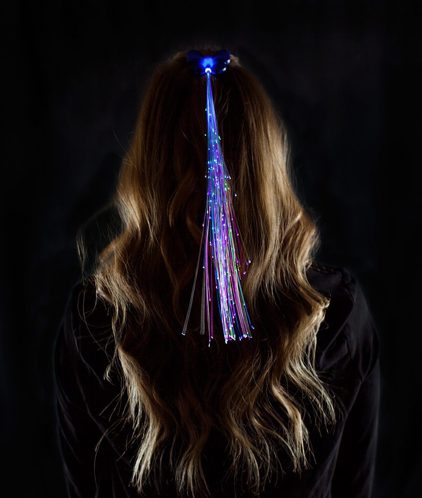 LED Fiber Optic Hair Clips - Blue