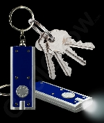 Fun Central AJ347 LED Light Up Flat Flashlight Key Chain- Blue