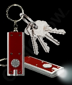 Fun Central AJ350 LED Light Up Flat Flashlight Key Chain- Red